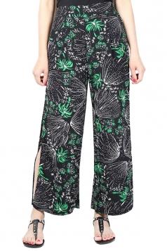 Womens Sexy Side Slits Chiffon Wide Leg High Waist Pants Green