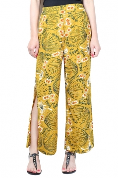 Womens Sexy Side Slits Chiffon Wide Leg High Waist Pants Yellow