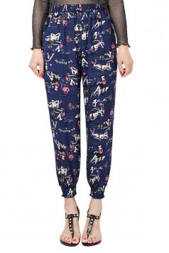 Womens Elastic Printed Loose Leisure Pants Blue