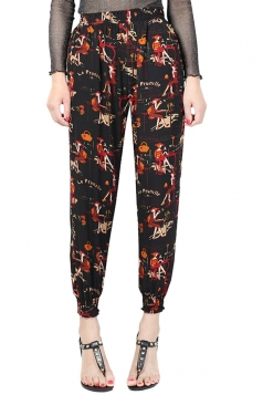 Womens Elastic Printed Loose Leisure Pants Black