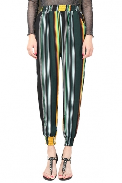 Womens Elastic Printed Loose Leisure Pants Turquoise