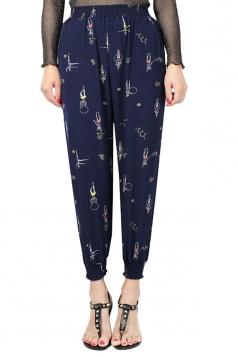 Womens Elastic Printed Loose Leisure Pants Navy Blue
