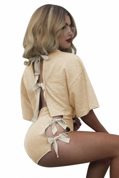 Womens Crewneck Lace Up Crop Top&High Waist Shorts Suit Apricot