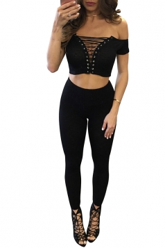 Womens Off Shoulder Lace-up Crop Top&High Waist Pants Suit Black