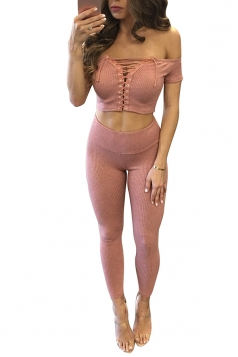 Womens Off Shoulder Lace-up Crop Top&High Waist Pants Suit Pink