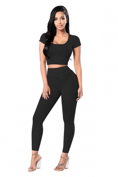 Womens Plain Short Sleeve Crop Top&High Waist Pants Suit Black
