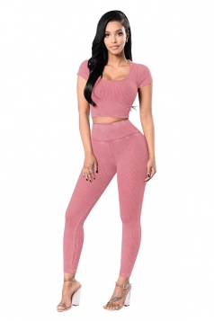 Womens Plain Short Sleeve Crop Top&High Waist Pants Suit Pink