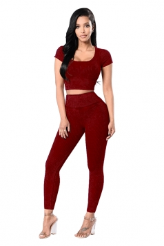 Womens Plain Short Sleeve Crop Top&High Waist Pants Suit Ruby