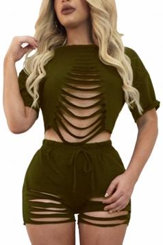 Womens Ripped Short Sleeve Drawstring Waist 2PCS Shorts Set Army Green