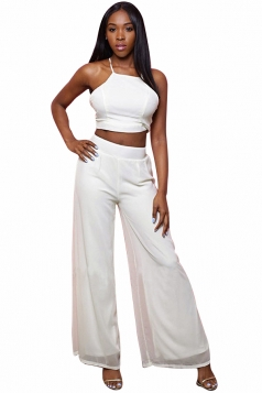 Womens Sleeveless Crop Top&High Waist Palazzo Pants Suit Beige White