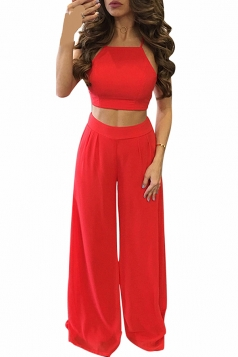 Womens Chiffon Sleeveless Crop Top&High Waist Palazzo Pants Suit Red
