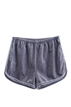Womens Velvet Elastic Waist Plain Mini Shorts Gray