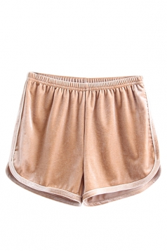 Womens Velvet Elastic Waist Plain Mini Shorts Khaki