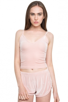 Womens Velvet Elastic Waist Plain Mini Shorts Pink