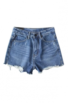 Womens High Waist Ripped Denim Jeans Shorts Blue