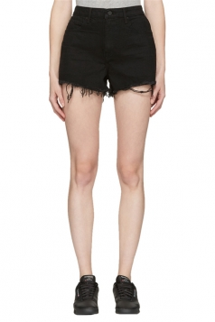 Womens High Waist Ripped Denim Jeans Shorts Black