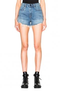 Womens High Waist Ripped Denim Jeans Shorts Light Blue