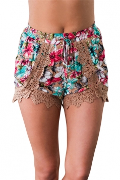 Womens Crochet Lace Detail Drawstring Floral Printed Mini Shorts Khaki