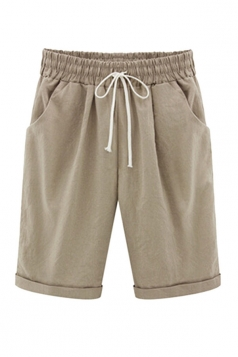 Womens Plus Size Drawstring Waist Plain Knee Length Shorts Khaki