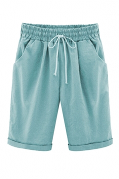 Womens Plus Size Drawstring Waist Plain Knee Length Shorts Light Blue