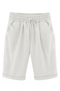 Womens Plus Size Drawstring Waist Plain Knee Length Shorts White