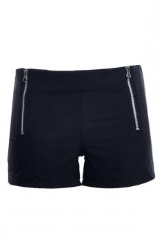 Womens Sides Zipper Decor Plain Mini Shorts Black