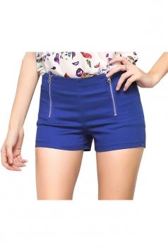 Womens Sides Zipper Decor Plain Mini Shorts Sapphire Blue