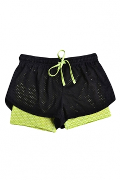 Womens Two Layers Fishnet Drawstring Waist Mini Sports Shorts Yellow