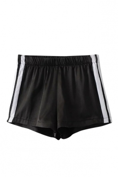 Womens Elastic Waist Sides Striped Mini Shorts Black