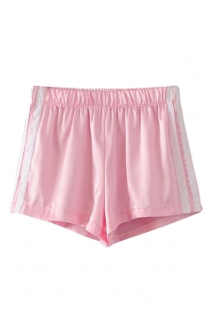 Womens Elastic Waist Sides Striped Mini Shorts Pink