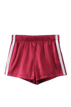 Womens Elastic Waist Sides Striped Mini Shorts Red