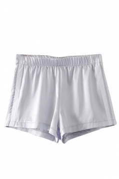 Womens Elastic Waist Sides Striped Mini Shorts White