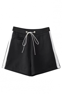 Womens High Waist Drawstring Waist Side Striped Mini Shorts Black