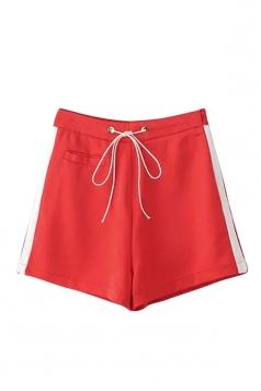 Womens High Waist Drawstring Waist Pocket Side Striped Mini Shorts Red