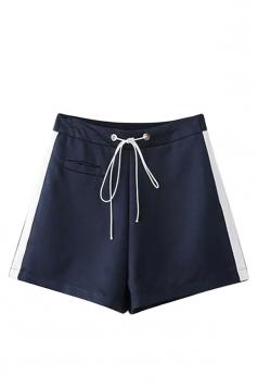 Womens High Waist Drawstring Waist Side Striped Mini Shorts Navy Blue