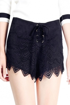 Womens Micro Suede High Waist Slimming Draw String Shorts Black