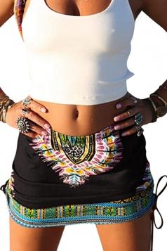 Womens Tribal Printed Side Drawstring Mini Skirt Black