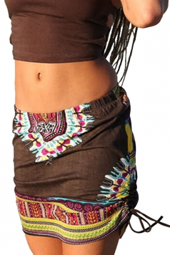 Womens Tribal Printed Side Drawstring Mini Skirt Brown