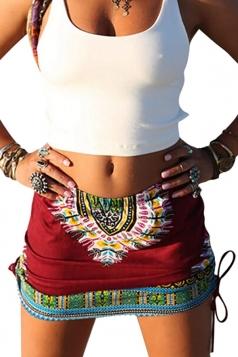 Womens Tribal Printed Side Drawstring Mini Skirt Red