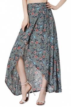 Womens Bohemia Floral High Waist Asymmetric Maxi Skirt Gray
