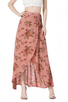 Womens Bohemia Floral High Waist Asymmetric Maxi Skirt Watermelon Red