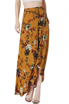 Womens Bohemia Floral High Waist Asymmetric Maxi Skirt Yellow