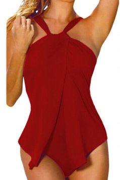 Womens Stylish Halter Plain One Piece Swimsuit Red