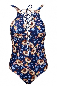 Womens Cross Lace-up Floral Printed Backless Cutout Monokini Navy Blue