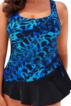 Womens Plus Size Printed 2PCS Skirted Tankini Swimsuit Blue