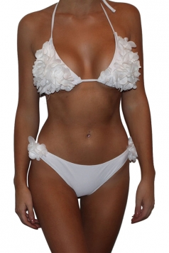 Womens Halter Flower Bunch Decor 2PCS Backless Bikini Suit White