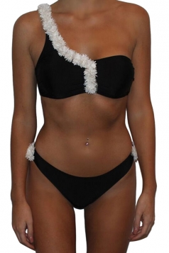 Womens Flower Bunch Decor One Shoulder Two-piece Bikini Suit Black
