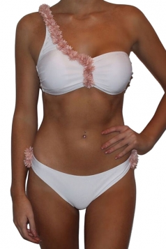 Womens Flower Bunch Decor One Shoulder Two-piece Bikini Suit White