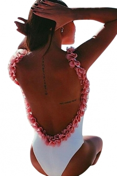 Womens Flower Decor Open Back One Piece Swimsuit White