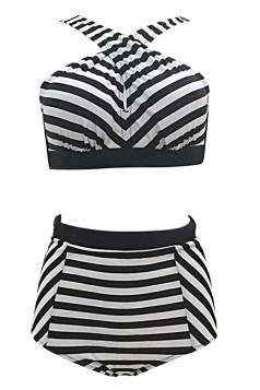 Womens Plus Size Striped Bikini Top&High Waist Swimsuit Bottom Black